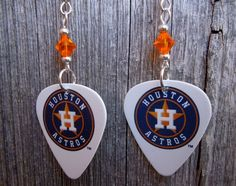 Houston Astros Guitar Picks with Orange Crystals by ItsYourPick on Etsy