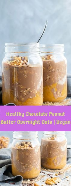 Make these easy and healthy Chocolate Peanut Butter Overnight Oats the night before and wake up to a delicious breakfast in a jar! Chocolate Overnight Oats, Peanut Butter Overnight Oats, Vegan Overnight Oats, Healthy Chocolate, Chocolate Peanut Butter, Chocolate Recipes, Chocolate Cake, Oats Recipes, Baking Recipes