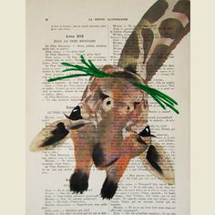 Giraffe eating grass- ORIGINAL ARTWORK Hand Painted Mixed Media on 1920 Parisien Magazine 'La Petit Illustration' $12
