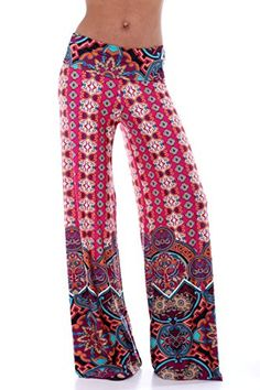 Womens Various Fold Over Waist Print Palazzo Pants 8-74_M...