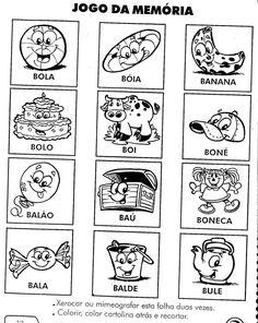 atividades silábicas letra B Jogo da memória