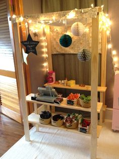 Mini pretend market. @Kellie Bailey @Jane Rudig how fun would these be for backyard pretend farmers markets?!
