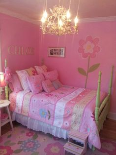 My mother's 1940's mahogany 4-poster bed refurbished as an updated 'big girl' bed for my granddaughter, Chloe!