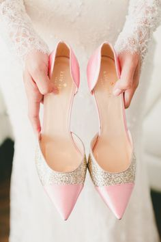 Gold glitter and pink Kate Spade heels: http://www.stylemepretty.com/2015/06/16/wedding-day-shoes-worth-showing-off/