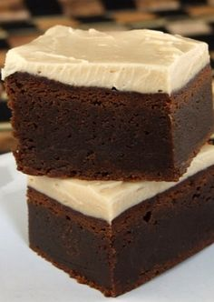Fudgy Kahlua Brownies with Browned Butter Icing #recipe