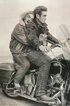 James Dean Marilyn Monroe Motorcycle Poster