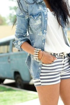 denim button up w/ grey & white striped shorts.