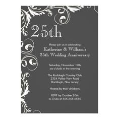 651 Best 25th Anniversary Party Invitations Images 25th