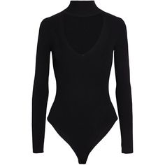 Cushnie Et Ochs Cutout ribbed-knit turtleneck bodysuit (€240) ❤ liked on Polyvore featuring intimates, shapewear, bodysuits, tops and black