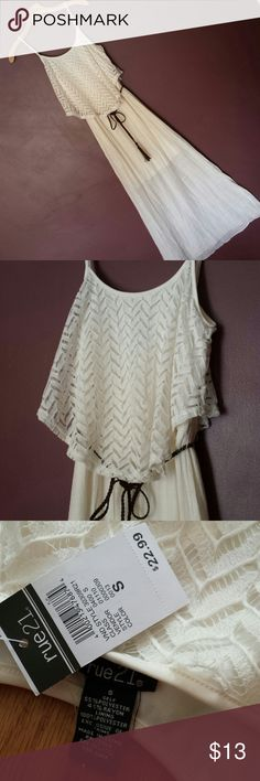 Rue 21 dress Size small only tried on Crocheted lace top with brown tie belt Very cute summer dress!!  Goes to my ankles I'm 5'4 Rue 21 Dresses