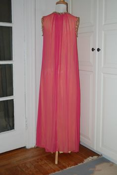 VINTAGE 50s Pink Chiffon Over Yellow Taffeta by fourstoryvintage, $94.99