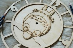 Totoro on the branch I wooden clock with engraving for painting and DIY projects