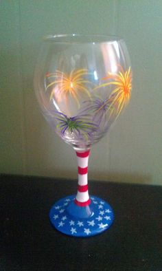 WIne glass Freedom Fireworks and flag painted by MyShardsofGlass, $15.00