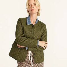 J.Crew: Quilted Puffer Lady Jacket With PrimaLoft® For Women J Crew Looks, Size 16 Fashion, Jackets For Women, Clothes For Women, Warm Coat, Fall Looks, Military Jacket, Organic Cotton, Bomber Jacket