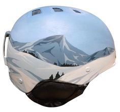 A ski and snowboard helmet painted with a simplified version of its surroundings, in sunny blue tones. Each helmet is hand-painted with acrylics and ink in our studio. It's also coated with a UV-prote Ski Gear, Snowboarding Gear, Ski And Snowboard, Ski Ski, Ski Helmets, Snow Activities, Cold Weather Gear, Helmet Paint, Sports Helmet