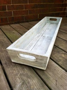 READY TO SHIP!  Long wooden trays are made of reclaimed wood and is painted in a vintage/Shabby Chic distressed look. All trays are slightly