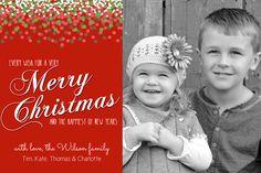 Christmas Photo Card Confetti Fun Green, Red, White