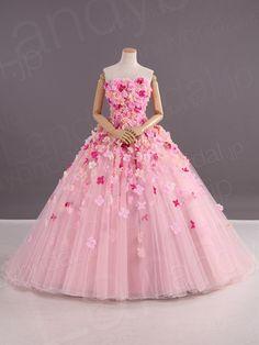カラードレス プリンセスライン くすんだピンク色 お花 チュール 可愛い JWLT15003