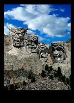Mt Rushmore Tiki No1  ACEO Limited Edition Digital by emelemArt