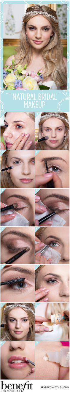 Let your natural beauty dazzle all day on your wedding day, with fluttery eye lashes, big beautiful eyes and a natural glossy lip. It\'s not as difficult as it looks to create the bridal makeup you desire! See the full wedding makeup tutorial at blog.benefitcosme...