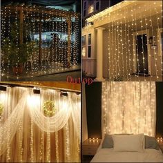 Outop(TM) 304led Window Curtain Icicle Lights String Fairy Light Wedding Party Home Garden Decorations 3m*3m (Warm white)