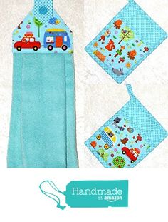3 Piece Kitchen Set - RV Camping Decor - 1 Hanging Hand Towel - 2 Quilted Pocket Potholders - Turquoise Plush Towel and Pot Holders in Retro Camping and Animals Print from Green Acorn Kitchen