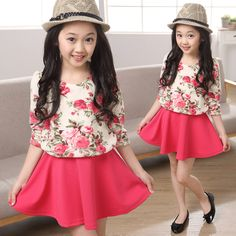 Cheap costume diy, Buy Quality dresses navy directly from China costume fans Suppliers:  2015 new spring flower girl dresses china baby kids print red teenagers clothes long sleeve children costume vestidos 4