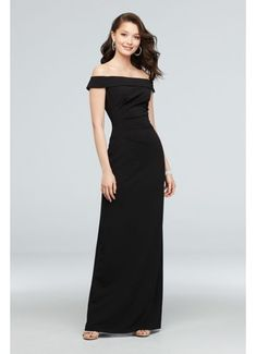 This body-skimming and figure-flattering stretch crepe dress is detailed with an off-the-shoulder neckline, side ruching, and a back slit. DB Studio, exclusively at David's Bridal Polyester, spandex Back zipper; fully lined Dry clean Imported Black Bridesmaids, Davids Bridal Bridesmaid Dresses, Bridal Party Dresses, Wedding Dresses, Wedding Outfits, Ruched Dress, Crepe Dress, Mesh Dress, Reception Gown