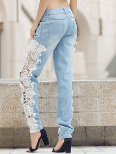 Trendy Mid-Waisted Pocket Design Lace Spliced Hollow Out Jeans For Women