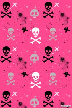 Paint Splatter Skulls and Crossbones on Hot Pink iPhone Wallpaper