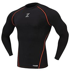 D de zefron warmgear Otoño Invierno Compresión Compression Under Base layer Gear Armour Wear Long Camisetas dztn 150br, color 150BR BLACK(ORANGE), tamaño ASIA XL - DE Large