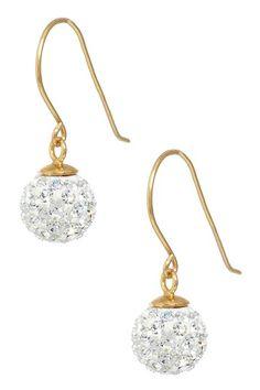14K gold crystal ball drop earrings