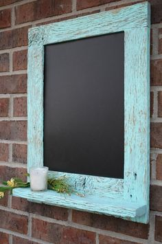 I could totally do this with the rustic mirror we have.Rustic Aqua Reclaimed Barn Wood Chalkboard with a Shelf by Indulgymeow Barn Wood Crafts, Barn Wood Projects, Old Barn Wood, Reclaimed Wood Projects, Reclaimed Barn Wood, Diy Projects, Weathered Wood, Diy Chalkboard, Chalkboard Frames
