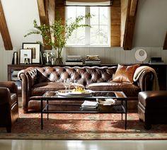 [CasaGiardino] ♛ Chesterfield leather sofa (Pottery Barn)