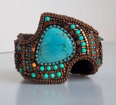 Bracelet Tibetan turquoise gemstone Cuff Ammonite Bead