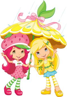 Strawberry Shortcake and Lemon Meringue in the rain with their umbrella with their berry friends, the Berrykins Strawberry Shortcake Cartoon, Strawberry Shortcake Birthday, Imagenes Betty Boop, Dora The Explorer, Cartoon Kids, Cartoon Images, Cartoon Drawings, Laura Lee, Copics