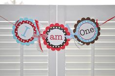 Boys 1st Birthday Highchair Banner - Red, Brown and Blue, Polkadots - Personalized Birthday Decorations via Etsy