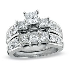 3 CT. T.W. Princess-Cut Diamond Three Stone Bridal Set in 14K White Gold This one reminds me of my Grandmother's ring.