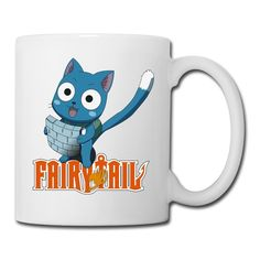 Cool Happy Cat Fairy Tail Japan Manga Ceramic Coffee Mug, Tea Cup | Best Gift For Men, Women And Kids - 13.5 Oz, White -- For more information, visit now : Cat mug