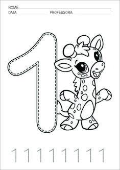 Atividade de Educação Infantil 1º Ano Matemática Número 1 Tracing Worksheets, Math Coloring Worksheets, Printable Preschool Worksheets, Worksheets For Kids, Printable Coloring, Addition Worksheets, Counting Worksheet, Free Printables, Printable Numbers
