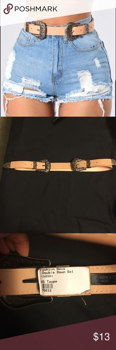 Fashionova Double down belt The belt come in one size, my waist is a 25 and even on the tightest loop it's much to big. I recommend for medium to large waist lines Fashion Nova Accessories Belts