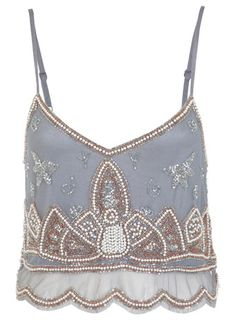 Embellished Cami Crop Top, with a high waisted skirt or a strapless dress that is fitted through the waist