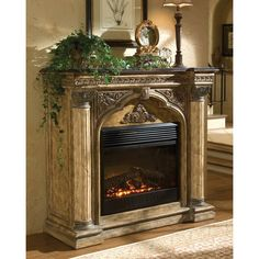 Ambella Arch Electric Fireplace (13.020 BRL) ❤ liked on Polyvore featuring home, home decor, fireplace accessories, fireplaces and electric fireplace