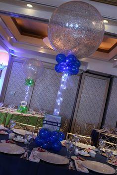 Royal Blue & Silver Sparkle Balloon Centerpieces