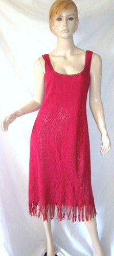 NANETTE LEPORE DRESSES 100% Cotton Pointelle Knit Crochet Trim Fringed Dress 10...see more details at this link - http://stores.shop.ebay.com/vintagefluxed