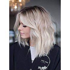 Haircuts For Medium Hair, Medium Hair Styles, Curly Hair Styles, Hairstyles With Bangs, Long Bob Hair Cuts, Long Angled Bob Hairstyles, Layered Haircuts, Long Lob, Lilac Hair