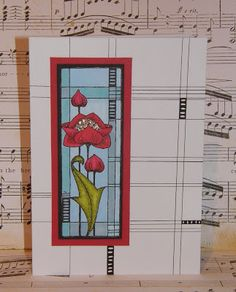 A single Mackintosh Flower (by Debbie)—extending the lines of a stained glass stamp onto the card background w/ a ruler & fine-tip pen
