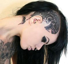Amazing gothic beauty with inked head