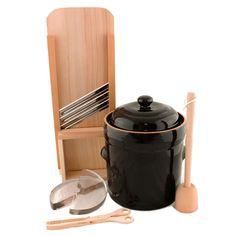 Beginner's Fermenting Kit - 10L Fermenting Crock, Cabbage Shredder, Masher & Tongs
