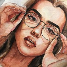 New Glasses Girl Illustration Ideas 48 Ideas Painting Of Girl, Painting & Drawing, Girl Paintings, Painting People, Watercolor Portraits, Watercolor Art, Art Sketches, Art Drawings, Pretty Art